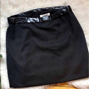 Chloe black skirt, black band, made in France 40/8